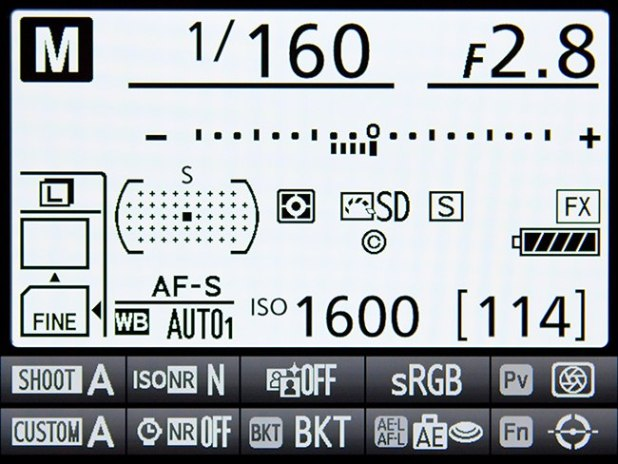 "The Information Display of the D810, accessed with the Info Button or i Button, and ""activated"" with the i Button"