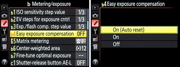 Making use of Easy Exposure Compensation to configure how the controls can be used to change exposure compensation