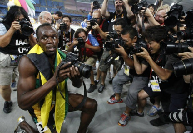 Usain Bolt with Nikon D4 at olympics