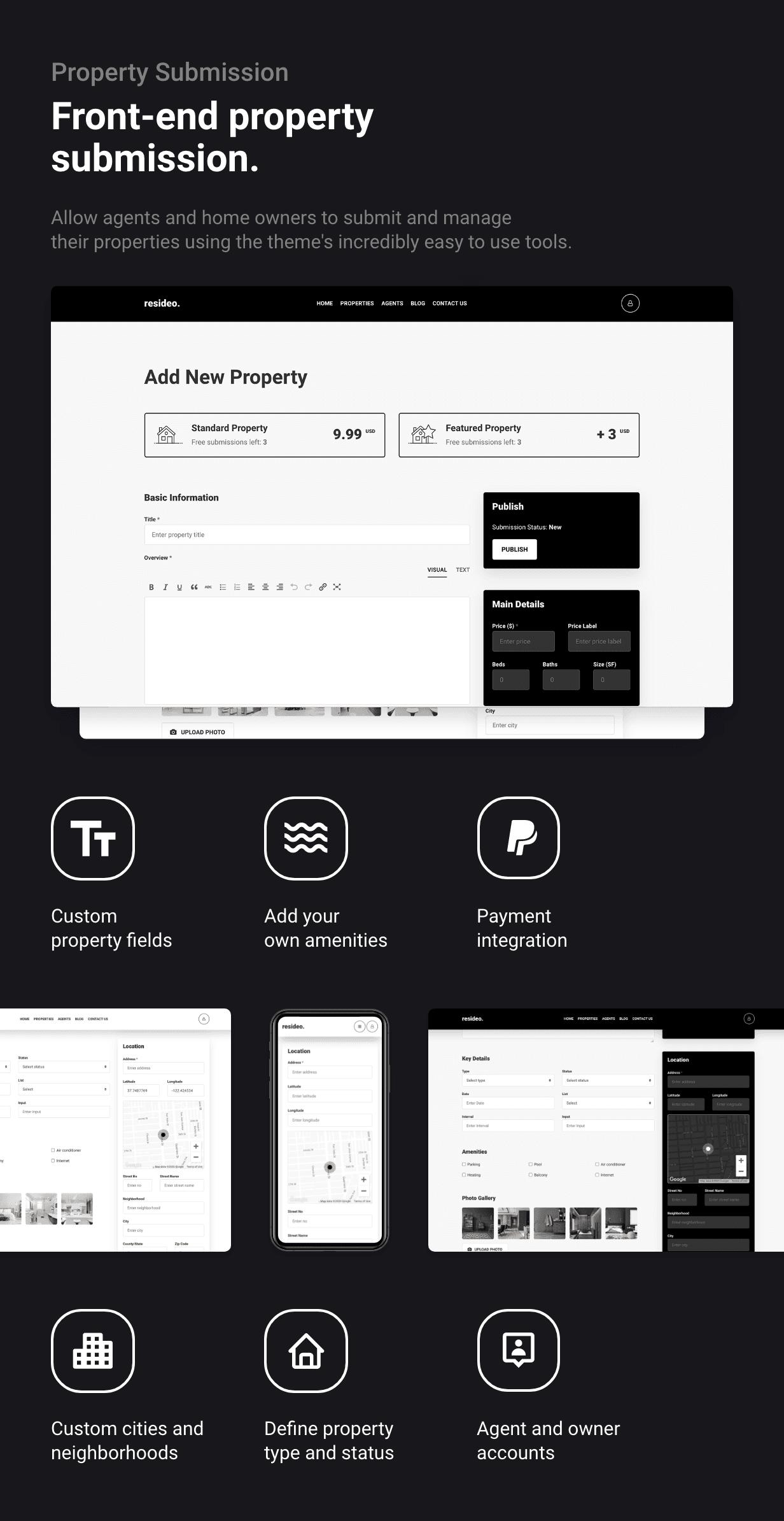 Resideo - Real Estate WordPress Theme - Submit Property