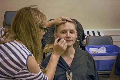 Make-up artist Tania Ashworth gets to work on aging Jack.
