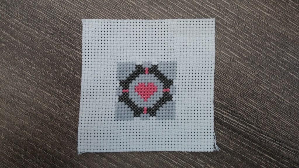 Portal Companion Cube Cross Stitch