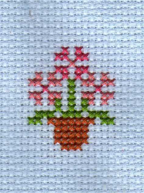 flower pot cross stitch