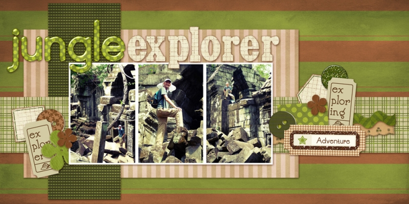 Jungle Explorer Free Download Digital Scrapbook Page Brown Green Tan Button Cambodia Double