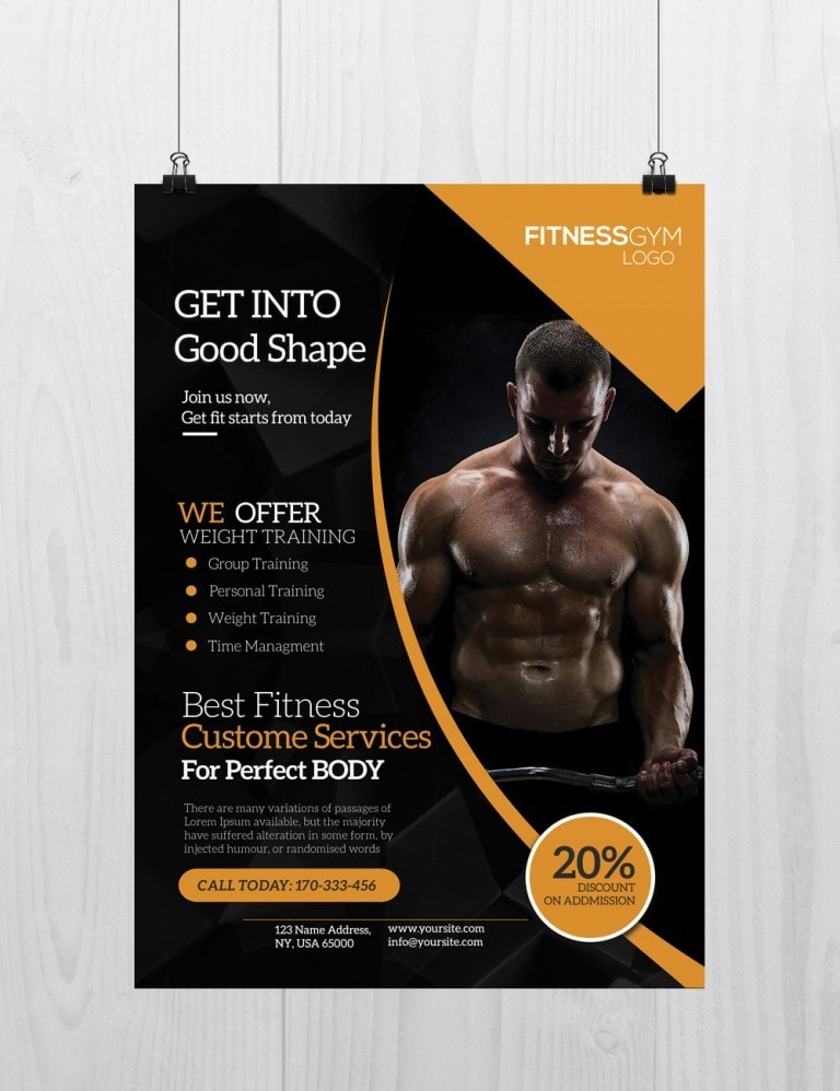 Pixelsdesign Get Into Shape Free Fitness Psd Flyer Template