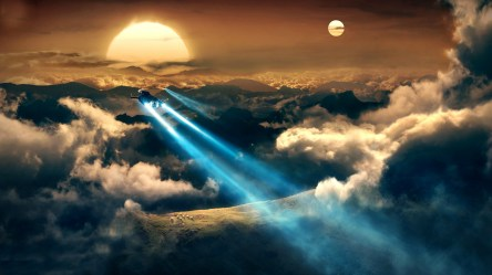 fantasy background hd desktop backgrounds wallpapers sunset spaceships cloud blowing mind 1080 resolution towards flying pixelstalk sun spaceship cool sky