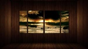living wall wood window deviantart wallpapers backgrounds beach sunrise shore paullus23 background rocks water desktop panel painting chat walls pixelstalk