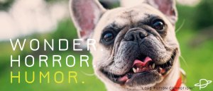 A smiling white French bulldog. Superimposed are the words WONDER. HORROR. HUMOR. Humor is in yellow.