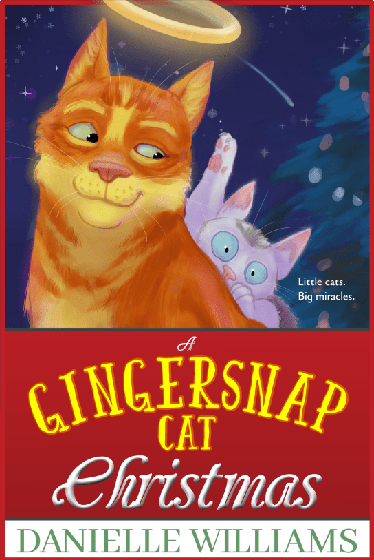 A GINGERSNAP CAT CHRISTMAS Book Cover: A ginger cat with a halo smiles at a terrified black and grey kitten hiding behind him.