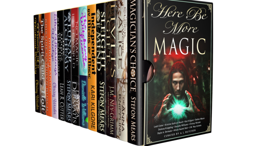 The HERE BE MORE MAGIC ebook bundle, visualized as a boxed set of books