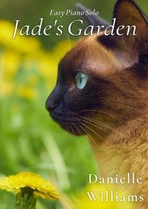 Cover for JADE'S GARDEN, profile of a seal-point cat in a lush yard with yellow flowers