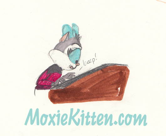 Moxie Kitten in red TNG uniform over a console. Star Trek fanart