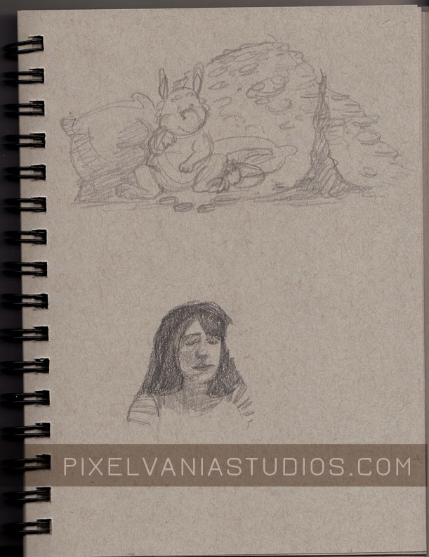 A baby dragon sitting near its mothers hoard and a life drawing of a singer wearing stripes