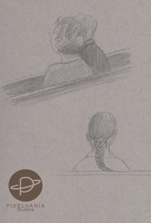 Church drawings - the backs of heads of people i love