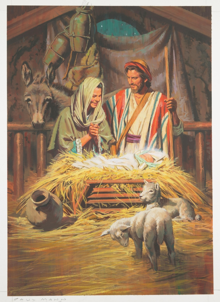 Nativity scene from LDS.org's media library. With sheep and donkeys and a smiling Mary and Joseph!
