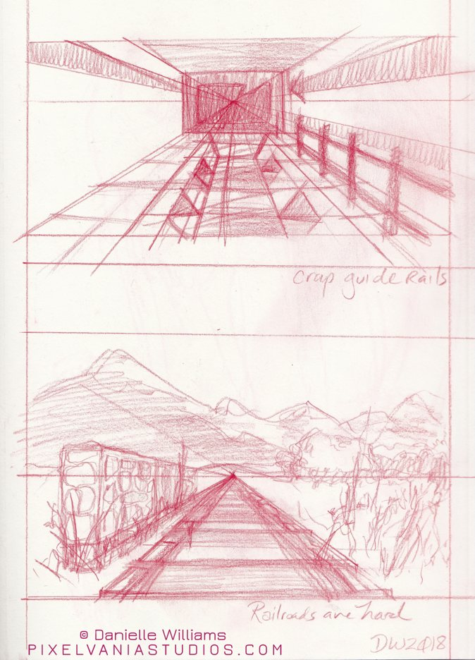 One-point perspective practice of a secret facility hallway and a railroad
