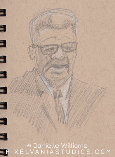Life drawing of a man with glasses