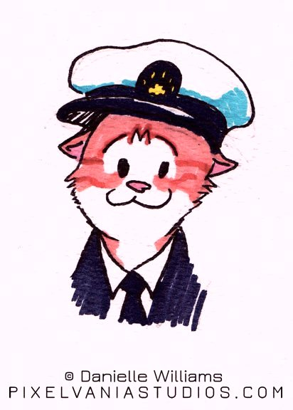 Orange tabby cat dressed as a yacht captain