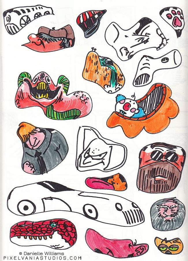 Various characters and critters (and even a car!) done in ink and marker, made of random shapes