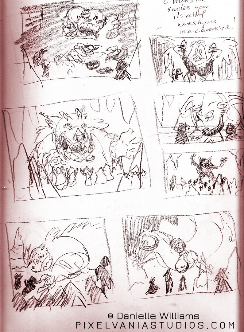 Red-tinted thumbnails of monsters and their cultists