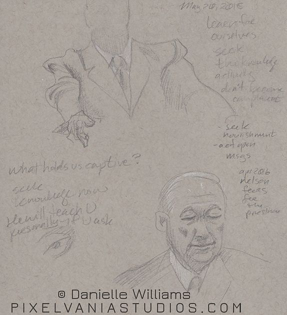 Pencil drawing on toned paper, focusing on a man's suit and a portrait of a man