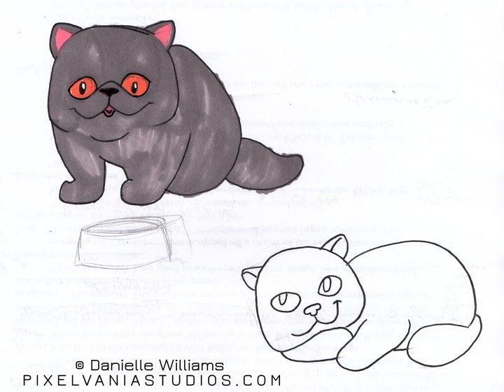 Marker drawing of a grey exotic shorthair cat with its tongue sticking out. Also a lazy exotic below it