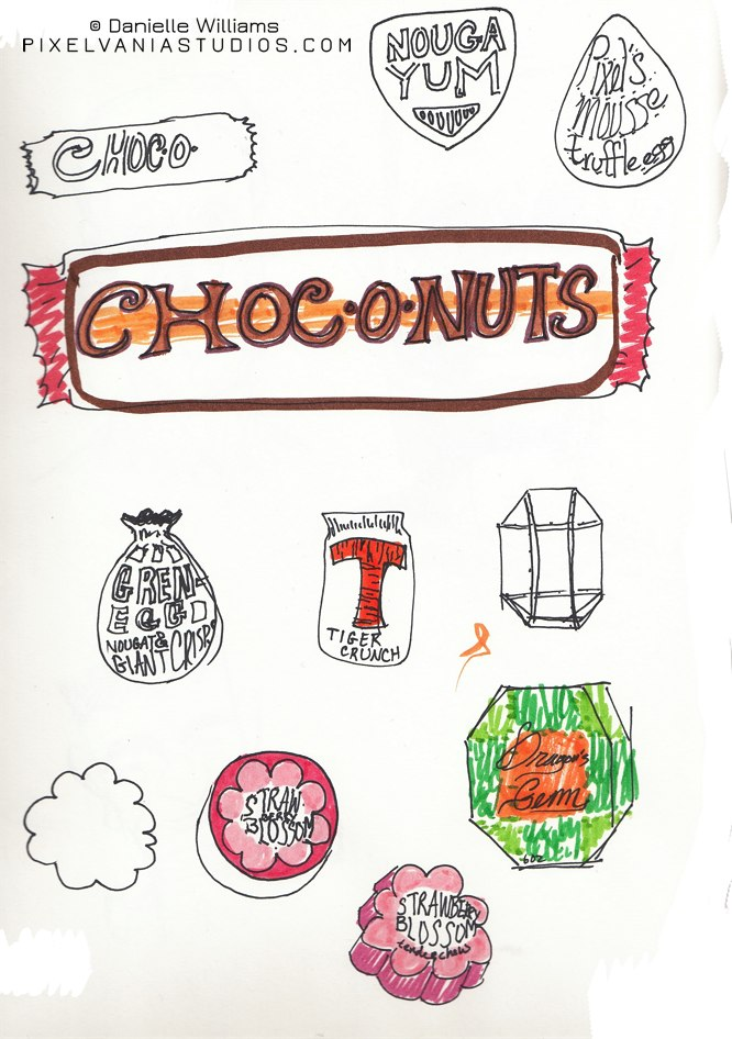 Fake candy designs done in marker