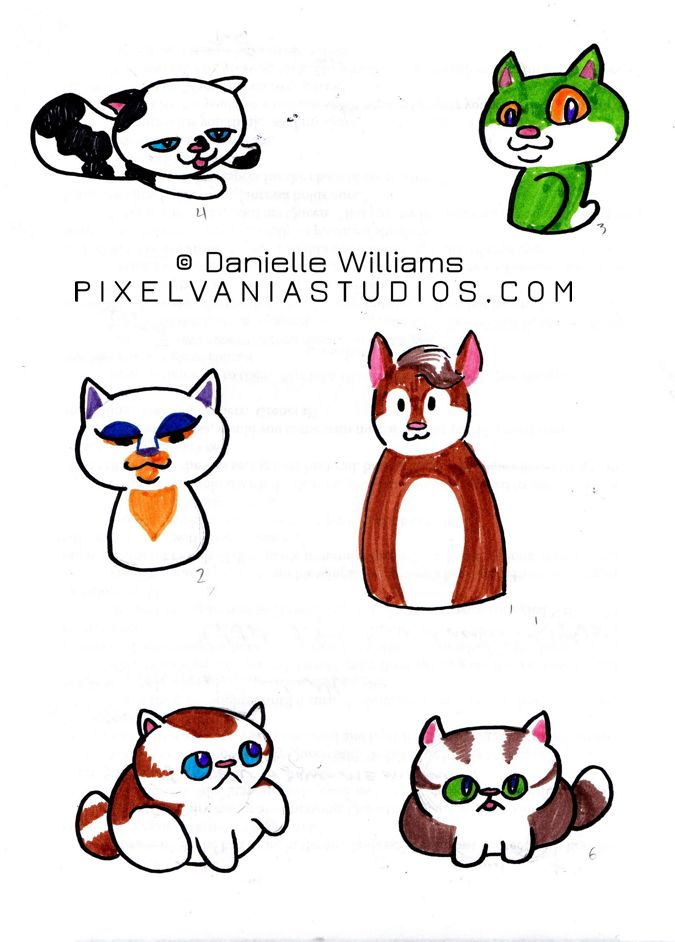 Stylized kitties in bright marker colors