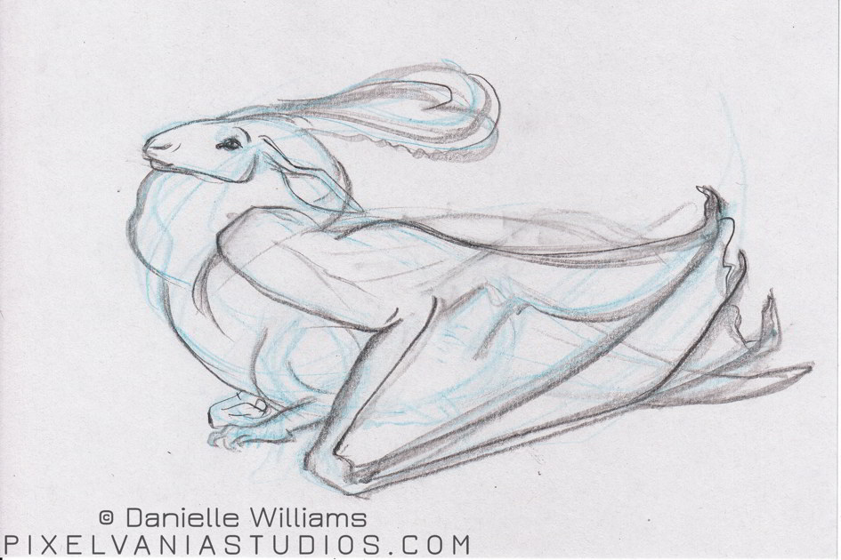 Gazelle-faced dragon in blue pencil