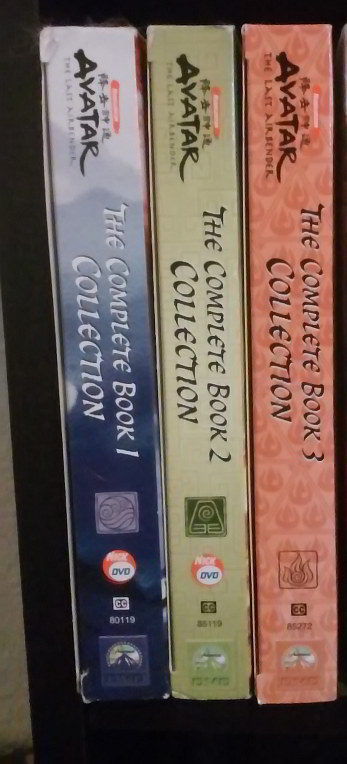 Spines of the AVATAR: THE LAST AIRBENDER DVD boxed sets