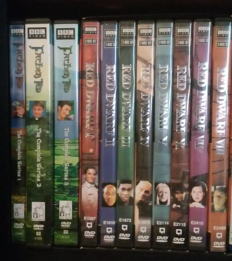 DVD spines for both FATHER TED and RED DWARF