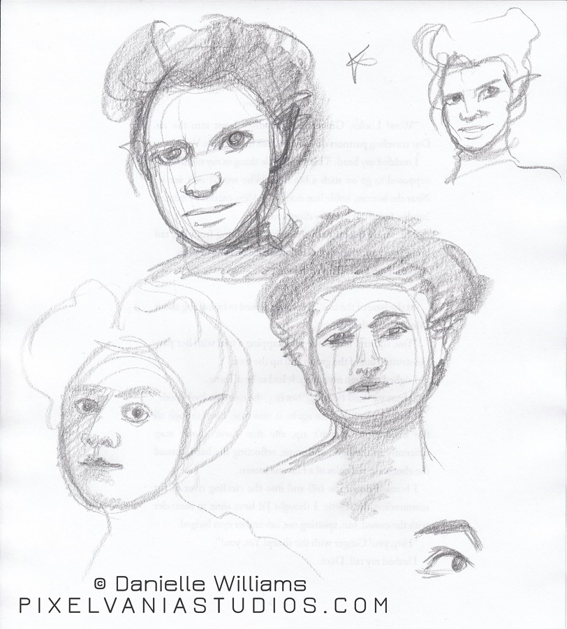 Pencil sketches of sort of retro-haired women's faces