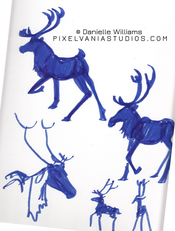 Reindeer sihouettes in blue marker (Book Cover Behind the Scenes)