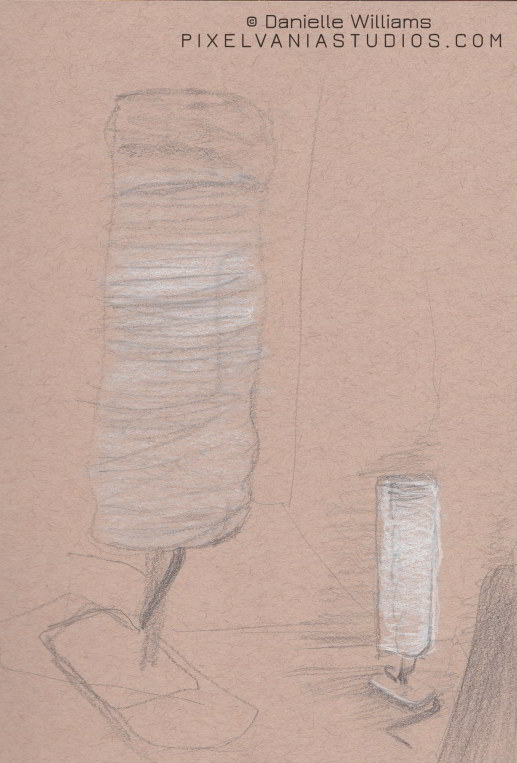 Weird lamp drawn at a doctor's office on toned paper