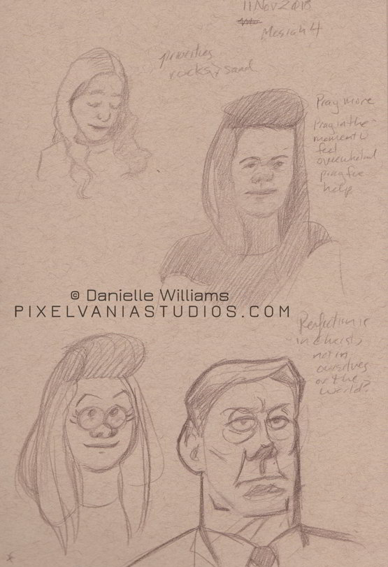 Realistic life drawings next to cartoony versions of the same people. Mostly.