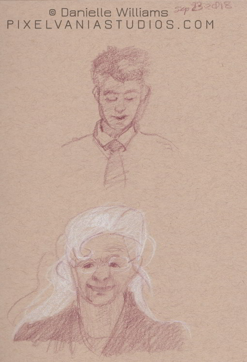 White Haired woman and Young Man