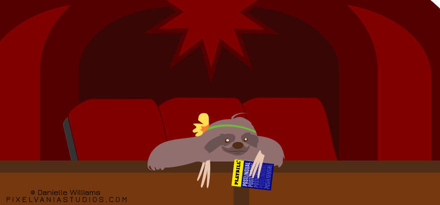A cartoon sloth in a floral headband sits up in a theater box, holding a playbill in her claws