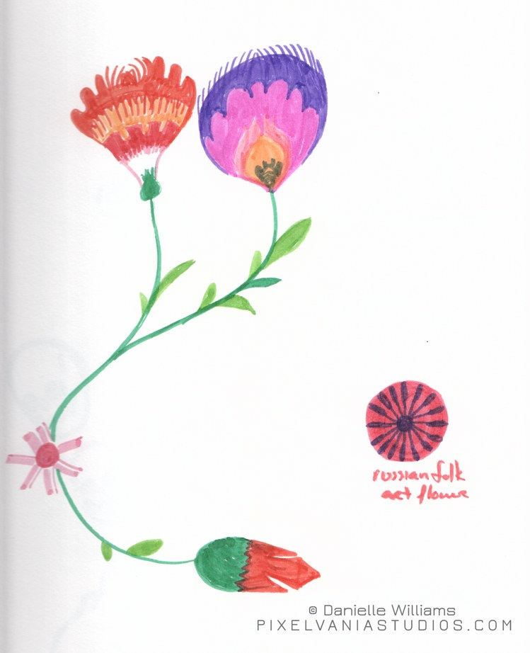 Folk art flowers in marker 2
