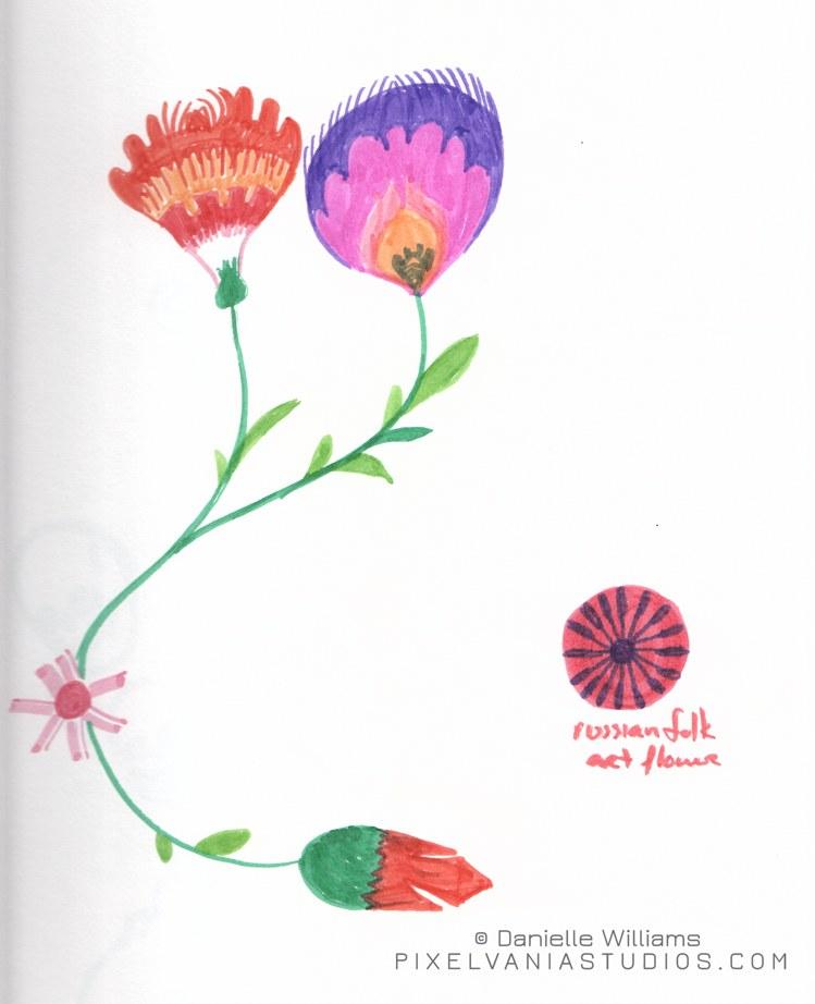 Folk art flowers in marker 2