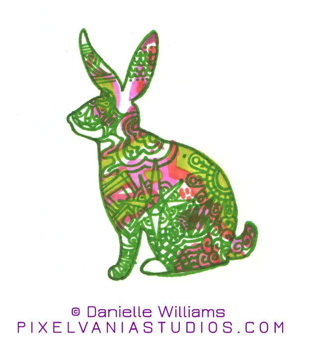 Rabbit drawn in marker, filled with crazy patterns and colors