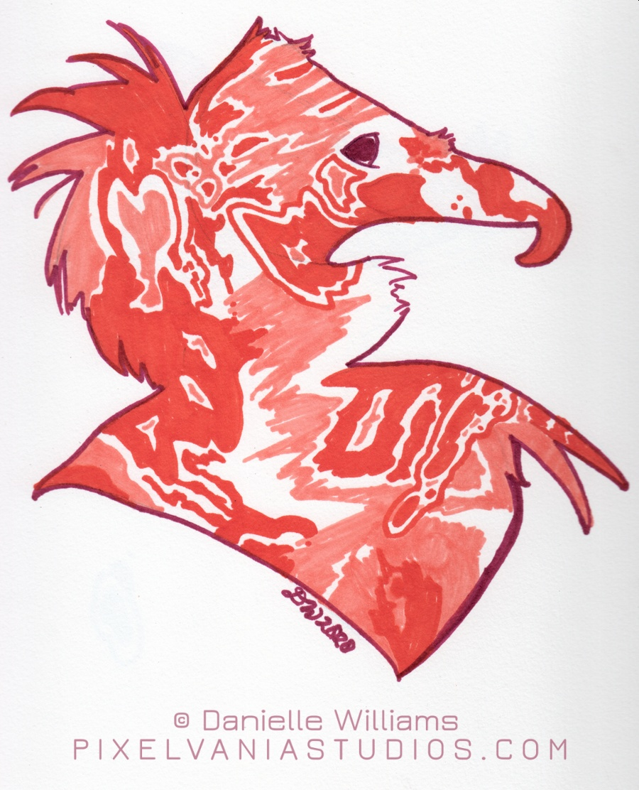 Silhouette of a vulture filled in with warm orangey stylized marker shapes