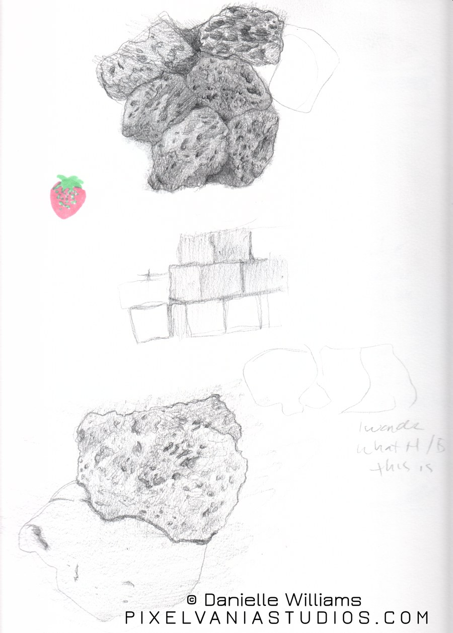 Study of a lava rock maybe? in pencil