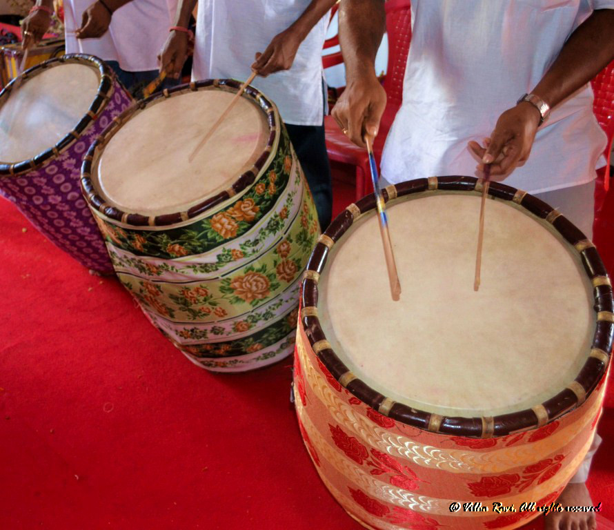 Indian drums or dhol play during Durga Puja celebrations