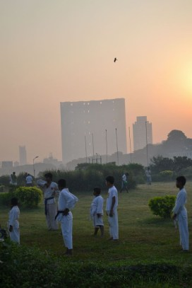 Early morning karate class at Mumbai Mahalakshmi or Mahalaxmi Race Course