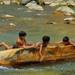 Children play in the Gomti river near Bageshwar