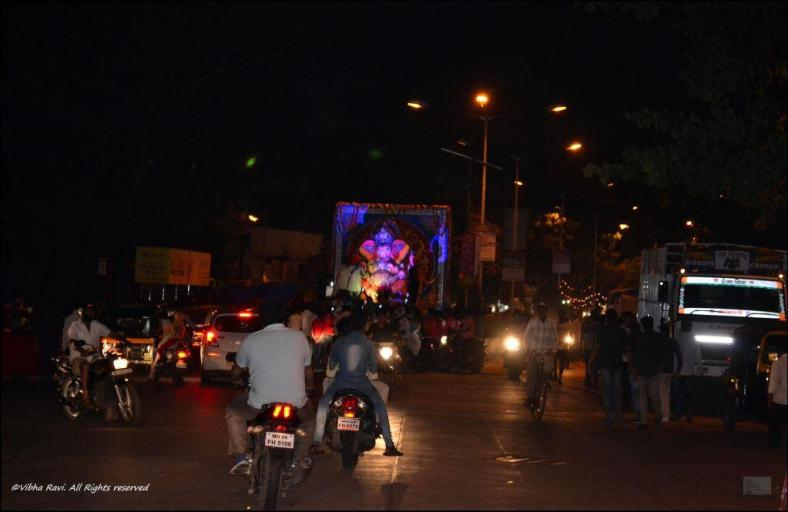 Ganapati on the road in an immersion procession