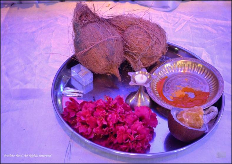 Coconut, jaggery, modak (sweet), durva (grass), red flowers etc. are offered to Lord Ganesh