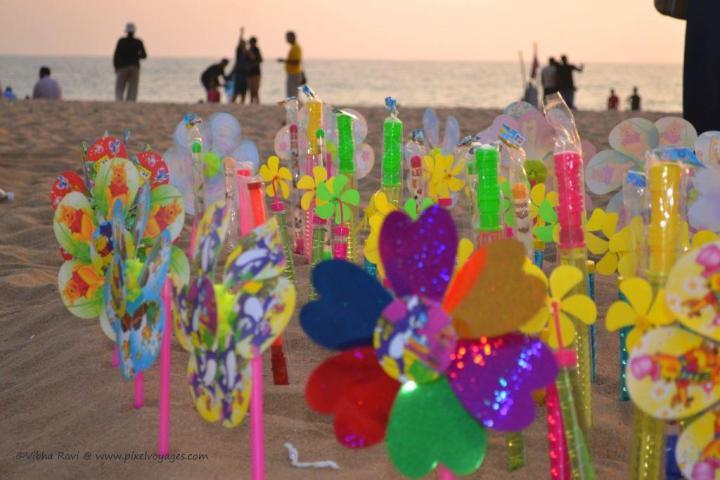 Toy windmills at Kollam Beach?