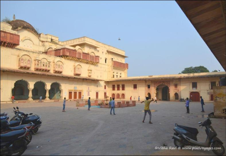 A game of cricket at the central courtyard of City Palace Alwar