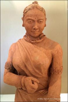 Clay sculpture of Indian tribal woman. Pic taken at Kanha Museum of Life and Art, Singinawa Jungle Lodge